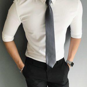 áo sơ mi nam trắng - đen trơn ẩn 8358