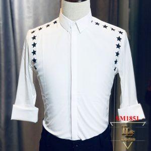 Áo sơ mi nam trắng in hình ngôi sao SM1851